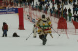 T Bone Clark runs down Headwall ski run, after crashing in the race, Tuesday afternoon January 17,...