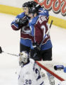 Joe Sakic and Milan Hejduk celebrate Hejduk's goal in the 2nd period  as the Colorado Avalanche...