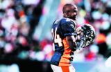 Denver Broncos cornerback, Champ Bailey, takes the field in the 4th  of play Sunday, Sept., 18,...