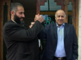 JRL120 - Former West Bank security chief Jibril Rajoub and Fatah candidate, right, and his brother...