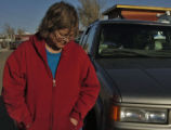 Pam Dorland (cq ), leaves the Spanish Peaks VFD Sunday afternoon January 8, 2005 in Aguilar...