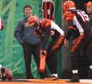 112505 SP bengals grier-Chad Johnson putts the footbal with the end zone pylon marker after he...