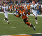 112804 Sp Bengals -- Deltha O'Neal heads into the end zone with a back-breaking interception...