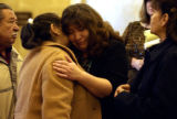 (DENVER., Colo., Jan 23, 2006) Marcilino Carbaja's, mother Dorthey Carbajal hugs Laura Alegria ,...