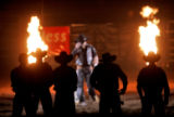 Pro Bull Ridding athletes are announced during the second night of competition at the Denver...