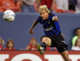 Denver, Colo., PHOTO TAKEN MAY 7, 2004- Colorado Rapids midfielder, Chris Henderson,shoot for a...