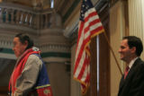 Speaker of the House Andrew Romanoff (D-Denver), right, listens to Shaman Terry Knight, spiritual...