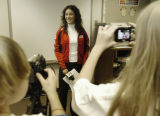 Denver, CO Jan. 25, 2005 US Olympic speed skater Allison Baver is interviewed by fourth and fifth...