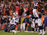 The Broncos celebrate after an incomplete pass to Christian Fauria in the 1st quarter of the...
