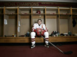 (Denver, Colorado, 1/25/2006)  Matt Carle (cq), the DU Pioneers Hockey team captain, hales from...
