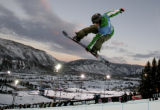 Antti Auttti goes big during practice before the snowboard superpipe finals  at the Winter X...