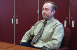 Todd Ball (cq), principle of Bill Reed Middle School in Loveland  reflects  in his office on...