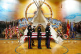 Marines stand at attention over the casket of Cpl. Brett Lundstrom, who was killed in Iraq on...