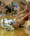 ThunderRidge High School #4 Brenna Malcolm-Peck, left, looses control of a loose ball while Regis...