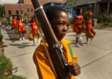 [Denver, CO - Shot on: 7/9/04]  T.J. Edward, 7, with the Syeria Temple Marching Band holds a...