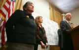 State Senator Joan Fitz-Gerald, and House Representative Alice Madden watch as Jeff Lewis,...