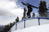 Jason Kaplan (cq)  rides a rainbow rail on Hideout at Echo Mountain Park Thursday March 9, 2006....