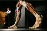 Dr. Gunther Von Hagen, creator of Body Worlds 2, speaks duraing a press conference at the Denver...
