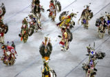 Traditional Native American dancers compete at the Denver Colleseum Sunday afternoon March 26,...