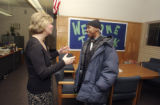 After a journey of three bus rides, Terrell Mitchell (cq) (right) met with Jeannie Pepple (cq)...