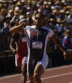 (SATURDAY, July 10, 2004 in SACRAMENTO) James Carter pumps his fist as he wins his semifinal heat...