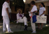 (DENVER, Colo., July 12, 2004) Rosemary Marshall talks with neighborhood resident Curtis Clytus,...