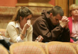 (L-R) Shanna Ortiz (cq) , and Nick Foley (cq) cousins of murder victim  Mathew Foley cry as family...
