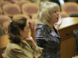 Monica Goetsch (cq) rt, makes a passionate plea against  bill 1315, sponsored by Rep Lynn Hefley...