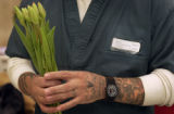 Inmate Christopher Baca (CQ), puts a tulip bunch at the East Canon City Complex of Colorado state...