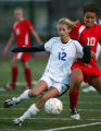 Sarah Mendelsberg, left, of the Cherry Creek Bruins fights for control of the ball against Rebecca...