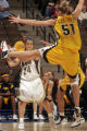 BYU's Vanessa Hutson, left, tries to pass the ball being defended by Iowa's Krista VandeVenter,...