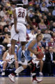 Florida State's Tanae Davis-Cain, left, miss times her jump while guarding Louisiana Tech's Aarica...
