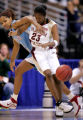 Florida State's Alicia Gladden, right, is tangled up by  Louisiana Tech defenders Shan Moore,...