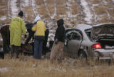 Colorado State Patrol and Arapahoe County Corners remove the body of a 67-year-old male who was...