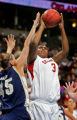 Oklahoma's Courtney Paris (#3) shoots over BYU's Dani Kubik (#45) during the first half of their...