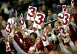 Oklahoma fans celebrate as their team drains another three point shot during the second half of...