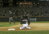 Colorado Rockies outfielder Cory Sullivan is dejected after getting picked off for the final out...