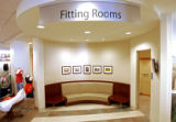 A view of the remodeled waiting areas near the fitting rooms that feature comfortable seating and...