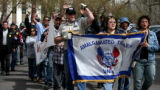 Union members march on the state Capitol, Thursday Apr. 6, 2006 to respond at a rally to Colorado...