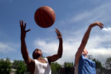 (0510/2004 Denver, Colo.)-Morey Middle School students  TerRae (cq TerRae) Jones, 13, left, and...