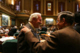 EJ0432 Colorado State Representatives Jim Welker, R-Loveland, left, and David Schultheis,...
