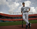 Photo Hector GAbino/Miami Herald -  New manager for the Florida Marlins Joe Girardi pose   for the...