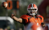 Bowling Green State University quarterback Omar Jacobs passes in the second quarter against Temple...
