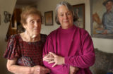 (LT. to RT.) Roberta Robertson, 88, stand with friend local playwright Melanie Tem who wrote a new...
