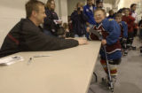 Rob Blake, (cq), made Bailey Miller,9, (cq), feel great getting to meet and shake hands with a...