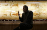 Physicist John Jackson (cq) talks about different aspects of the Shroud of Turin as he sits in...