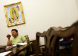Ramiro Osorio Flores (cq) makes a comment during class at the Centro San Juan Diego Wednesday,...