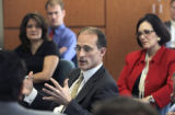 U.S. Small Business Administrator Steven C. Preston (cq),center,  during a roundtable meeting with...