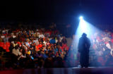 (AURORA, CO., JULY 28, 2004)  International Soul Circus, opening act Onion Head, talks to the...