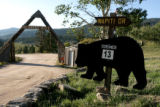 A sign showing the number of bear break-ins at Crystal Lake Tuesday afternoon September 12, 2006....